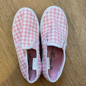 Kids Checked Pink Slip-on